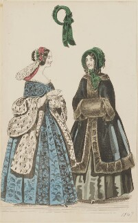 Evening dress and public promenade dress, January 1847, published by Elizabeth Henderson, published in  The Ladies' Cabinet of Fashion, Music and Romance - NPG D47964