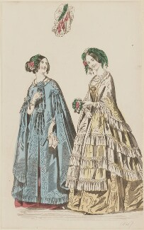 Evening dresses, January 1847, published by Elizabeth Henderson, published in  The Ladies' Cabinet of Fashion, Music and Romance - NPG D47978