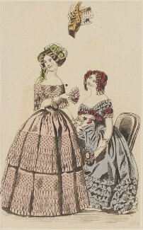 Grand costume and evening dress, January 1847, published by Elizabeth Henderson, published in  The Ladies' Cabinet of Fashion, Music and Romance - NPG D47977