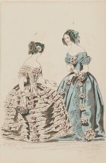 Ball dresses, February 1847, by Sangar, published by  Elizabeth Henderson, published in  The Ladies' Cabinet of Fashion, Music and Romance - NPG D47981