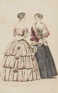 Ball and evening dresses, March 1847, by Sangar, published by  Elizabeth Henderson, published in  The Ladies' Cabinet of Fashion, Music and Romance - NPG D47966