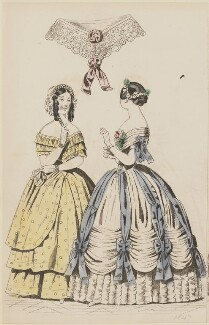 Evening and ball dresses, April 1847, published by Elizabeth Henderson, published in  The Ladies' Cabinet of Fashion, Music and Romance - NPG D47976