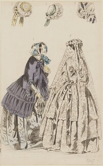 Public promenade and bridal dresses, May 1847, published by Elizabeth Henderson, published in  The Ladies' Cabinet of Fashion, Music and Romance - NPG D47975
