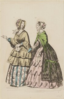 Carriage dresses, June 1847, by Sangar, published by  Elizabeth Henderson, published in  The Ladies' Cabinet of Fashion, Music and Romance - NPG D47967