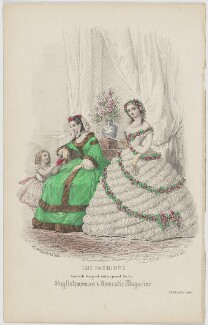 'The Fashions'. Ball dress and dinner dress or toilet de ville, February 1861, published by Samuel Orchart Beeton, published in  The Englishwoman's Domestic Magazine, first published in  Le Moniteur de la Mode, after  Jules David - NPG D47986
