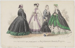 'The Fashions'. Walking dress for May 1861, by Amédée Bodin, published by  Samuel Orchart Beeton, published in  The Englishwoman's Domestic Magazine, first published in  Le Moniteur de la Mode - NPG D47987