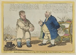 John Bull's first Visit to his Old Friend the New Secretary (John Bull; Charles James Fox), by Charles Williams, published by  Samuel William Fores - NPG D47471