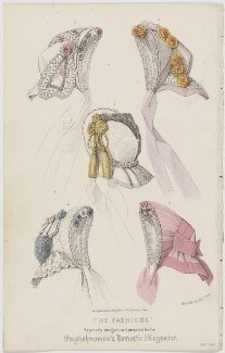 'The Fashions'. Plate of bonnets, May 1861, published by Samuel Orchart Beeton, published in  The Englishwoman's Domestic Magazine, first published in  Le Moniteur de la Mode - NPG D47988
