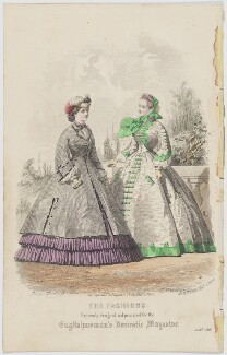 'The Fashions'. Walking dress for June 1861, by Laurent François Guerdet, published by  Samuel Orchart Beeton, published in  The Englishwoman's Domestic Magazine, first published in  Le Moniteur de la Mode, after  Jules David - NPG D47989