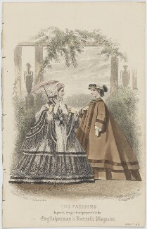 'The Fashions'. Toilette habillée and travelling dress, August 1861, by Amédée Bodin, published by  Samuel Orchart Beeton, published in  The Englishwoman's Domestic Magazine, first published in  Le Moniteur de la Mode - NPG D47991