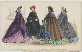 'The Fashions'. Walking dress, November 1861, published by Samuel Orchart Beeton, published in  The Englishwoman's Domestic Magazine, first published in  Le Moniteur de la Mode - NPG D47993