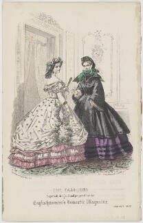 'The Fashions'. Ball and walking dress, January 1862, published by Samuel Orchart Beeton, published in  The Englishwoman's Domestic Magazine, first published in  Le Moniteur de la Mode - NPG D47995