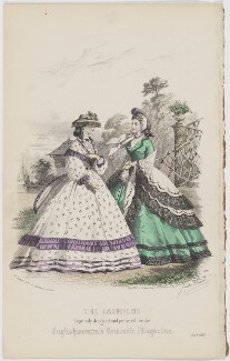 'The Fashions'. Exhibition and country or seaside dress, July 1862, by Réville, published by  Samuel Orchart Beeton, published in  The Englishwoman's Domestic Magazine, first published in  Le Moniteur de la Mode, after  Jules David - NPG D47997