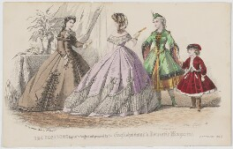 'The Fashions'. Morning dress, ball dress and dress for a fancy-dress ball, February 1863, by Bonnard, published by  Samuel Orchart Beeton, published in  The Englishwoman's Domestic Magazine, first published in  Le Moniteur de la Mode, after  Jules David - NPG D48001