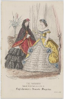 'The Fashions'. Ball dress, March 1863, published by Samuel Orchart Beeton, published in  The Englishwoman's Domestic Magazine, first published in  Le Moniteur de la Mode - NPG D48002