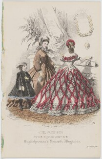 'The Fashions'. Ball dress and walking dress, December 1862, by Amédée Bodin, published by  Samuel Orchart Beeton, published in  The Englishwoman's Domestic Magazine, first published in  Le Moniteur de la Mode, after  Jules David - NPG D47999