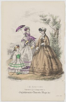 'The Fashions', June 1863, by Réville, published by  Samuel Orchart Beeton, published in  The Englishwoman's Domestic Magazine, first published in  Le Moniteur de la Mode - NPG D48004