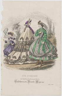 'The Fashions', June 1864, published by Samuel Orchart Beeton, published in  The Englishwoman's Domestic Magazine, first published in  Le Moniteur de la Mode - NPG D48008