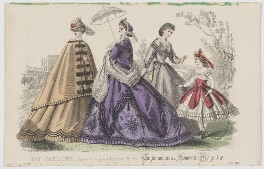 'The Fashions', July 1864, by Rigolet, published by  Samuel Orchart Beeton, published in  The Englishwoman's Domestic Magazine, first published in  Le Moniteur de la Mode - NPG D48009