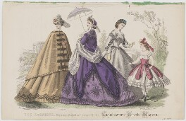 'The Fashions', July 1864, by Rigolet, published by  Samuel Orchart Beeton, published in  The Englishwoman's Domestic Magazine, first published in  Le Moniteur de la Mode - NPG D48010