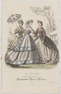 'The Fashions', August 1864, published by Samuel Orchart Beeton, published in  The Englishwoman's Domestic Magazine, first published in  Le Moniteur de la Mode - NPG D48011