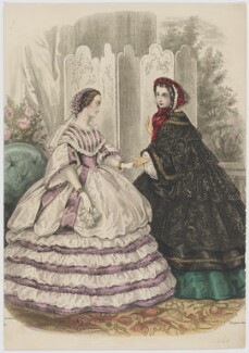 Evening and walking dress, June 1860, published by Rogerson & Tuxford, published in  The New Monthly Belle Assemblée, after  Héloise Leloir (née Colin) - NPG D47984
