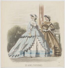Day dresses, 1864, by A. Carrache, published in  Les Modes Parisiennes, after  François-Claudius Compte-Calix - NPG D48013