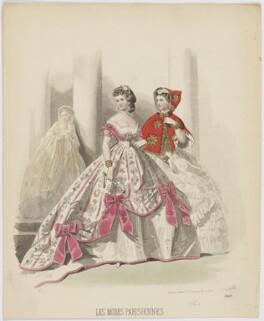 Ball dresses, 1864, by A. Lacourière, published in  Les Modes Parisiennes, after  François-Claudius Compte-Calix - NPG D48014