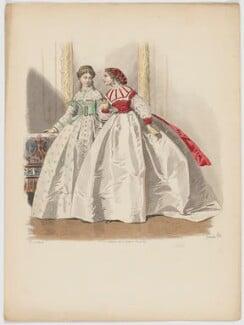 Afternoon dresses, 1864, by A. Lacourière, probably published in  Les Modes Parisiennes, after  François-Claudius Compte-Calix - NPG D48017
