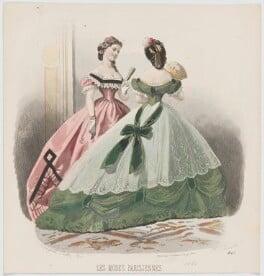 Evening dresses, 1864, by A. Carrache, published in  Les Modes Parisiennes, after  François-Claudius Compte-Calix - NPG D48018