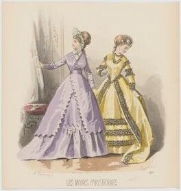 Dinner dresses, 1867, by A. Lacourière, published in  Les Modes Parisiennes, after  François-Claudius Compte-Calix - NPG D48019