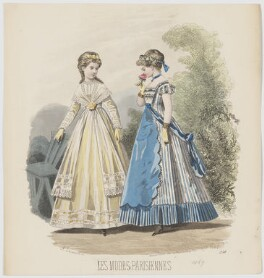 Summer day and home evening dresses, 1869, by A. Lacourière, published in  Les Modes Parisiennes, after  François-Claudius Compte-Calix - NPG D48035