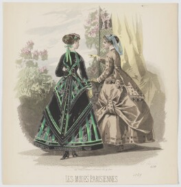 Carriage and visiting dresses, 1869, by A. Carrache, published in  Les Modes Parisiennes, after  François-Claudius Compte-Calix - NPG D48036