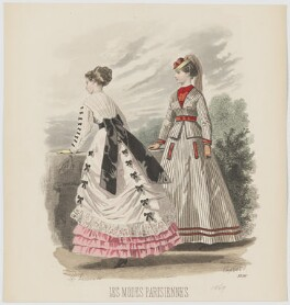 Summer day dress and country or seaside walking dress, 1869, by A. Lacourière, published in  Les Modes Parisiennes, after  François-Claudius Compte-Calix - NPG D48038
