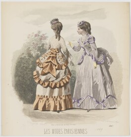 Visiting dress, 1869, by A. Carrache, published in  Les Modes Parisiennes, after  François-Claudius Compte-Calix - NPG D48039