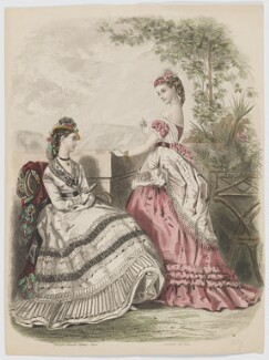 Day and evening dresses, 1869, probably after Héloise Leloir (née Colin) - NPG D48042