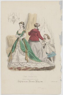 'The Fashions', January 1867. Grand reception toilet, morning toilet and ball toilet for a little girl seven years old, by Paul Deferneville, published by  Samuel Orchart Beeton, published in  The Englishwoman's Domestic Magazine, first published in  Le Moniteur de la Mode, after  E. Préval - NPG D48020