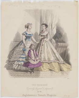 'The Fashions', January 1867. Ball toilet for a young lady, evening or dinner toilet and costume for a little girl seven years old, by Paul Deferneville, published by  Samuel Orchart Beeton, published in  The Englishwoman's Domestic Magazine, first published in  Le Moniteur de la Mode, after  Jules David - NPG D48021