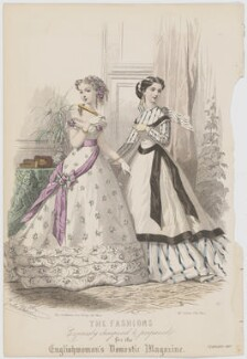 'The Fashions', February 1867. Ball toilet for a young lady and dinner toilet, published by Samuel Orchart Beeton, published in  The Englishwoman's Domestic Magazine, first published in  Le Moniteur de la Mode, after  Jules David - NPG D48022