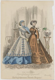 'The Fashions', June 1867. Walking toilet and visiting toilet, by Amédée Bodin, published by  Samuel Orchart Beeton, published in  The Englishwoman's Domestic Magazine, first published in  Le Moniteur de la Mode, after  Jules David - NPG D48025