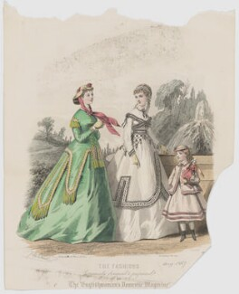 'The Fashions', August 1867. Visiting or walking toilet, indoor toilet for the country and costume for a little girl of seven to eight years old, by Eugène Gervais, published by  Samuel Orchart Beeton, published in  The Englishwoman's Domestic Magazine, first published in  Le Moniteur de la Mode, after  Jules David - NPG D48027