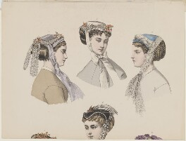 Bonnet plate, November 1867, published by Samuel Orchart Beeton, published in  The Englishwoman's Domestic Magazine, probably first published in  Le Moniteur de la Mode - NPG D48030