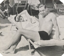 Serge Lifar and Countess Visconti on Excelsior beach, by Unknown photographer - NPG Ax105784