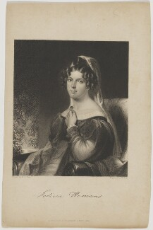 Felicia Dorothea Hemans, by William Holl Sr, published by  Fisher Son & Co, after  William Edward West - NPG D48196