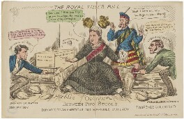 'The Royal Titles bill between two stools' (Benjamin Disraeli, Earl of Beaconsfield; Queen Victoria; John Brown; William Ewart Gladstone), published by Morris & Newman, after  Unknown artist - NPG D48207