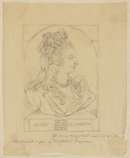Anne of Denmark, by Sir George Scharf, after  Unknown engraver, after  Isaac Oliver - NPG D48211