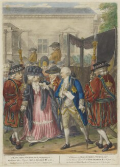 'Margaret Nicholson, attempting to Assassinate His Majesty King George IIId, at the Garden Entrance of St James's Palace, 2d August 1786' (Margaret Nicholson; King George III), published by Carington Bowles, after  Robert Dighton - NPG D47049