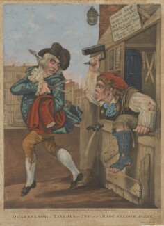 Quarrelsome Taylors [Tailors], or Two of a Trade Seldom Agree, published by Bowles & Carver, after  Robert Dighton - NPG D47051