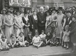 Clara Novello Davies and George Lansbury with members of the Royal Welsh Ladies' Choir, by George Woodbine, for  Daily Herald - NPG x182413