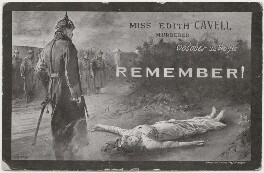 'Miss Edith Cavell murdered, October 12th 1915, Remember!', by Unknown photographer, after  Carrey - NPG x200182